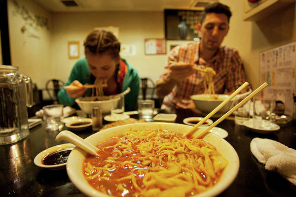 Wall Art - Photograph - People Eating Ramen Noodles, Showa by Eddie Gianelloni Media