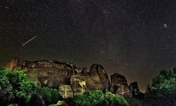 Perseid Wall Art - Photograph - Perseid Meteor Track Over Meteora by Babak Tafreshi
