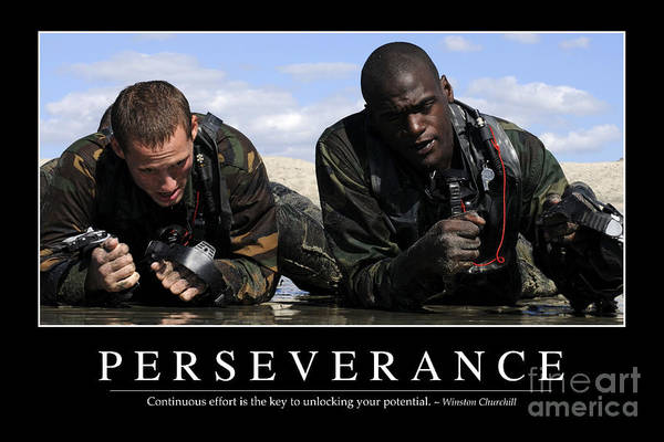 Navy Seal Photograph - Perseverance Inspirational Quote by Stocktrek Images