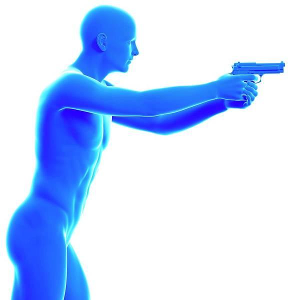 Person Holding Gun Art Print by Sebastian Kaulitzki/science Photo Library