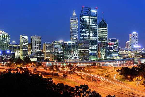 Convention Wall Art - Photograph - Perth Cityscape And Freeway From Kings by Stefan Mokrzecki
