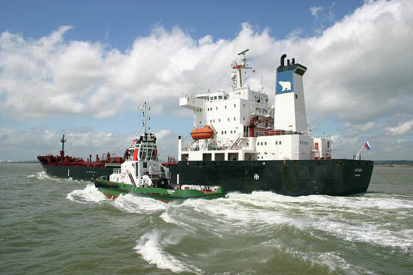Cargo Ship Photograph - Petrochemical Tanker And Tug by Graeme Ewens/science Photo Library