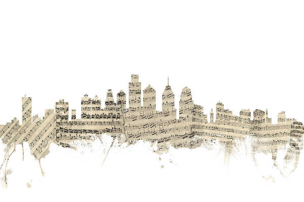 Philadelphia Cityscape Wall Art - Digital Art - Philadelphia Pennsylvania Skyline Sheet Music Cityscape by Michael Tompsett