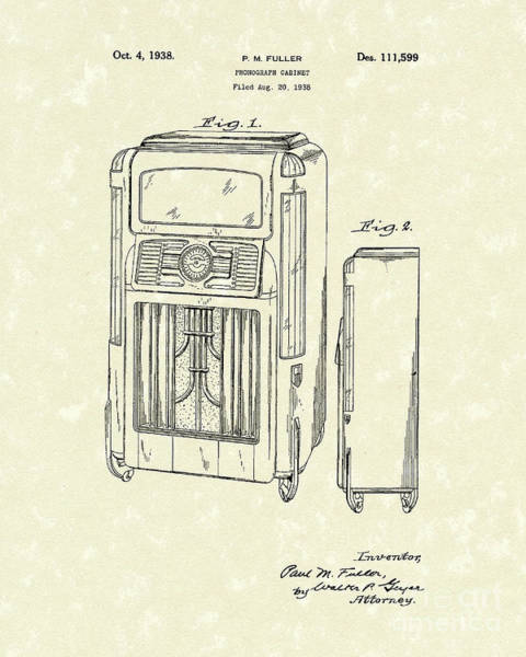 Drawing - Phonograph Cabinet 1938 Patent Art by Prior Art Design
