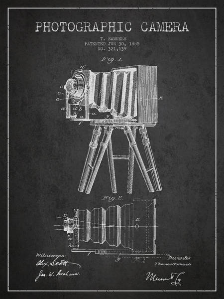 Lens Digital Art - Photographic Camera Patent Drawing From 1885 by Aged Pixel