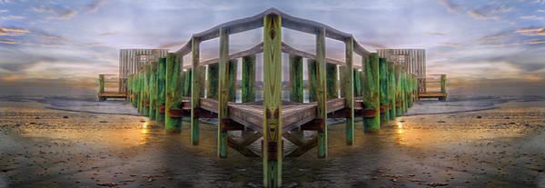 Reflective Digital Art - Pier by Betsy Knapp