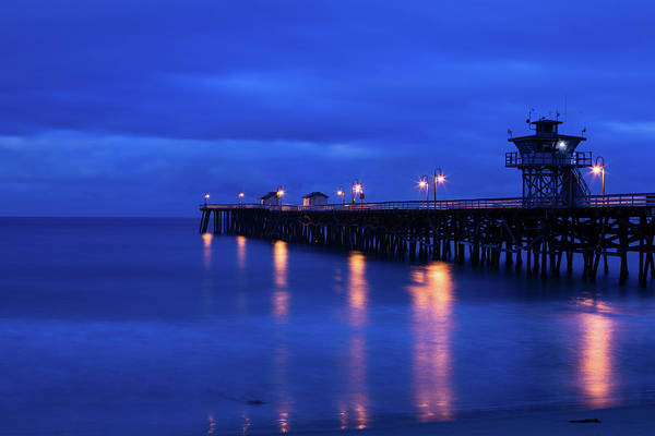Clemente Photograph - Pier In The Pacific Ocean At Night, San by Panoramic Images
