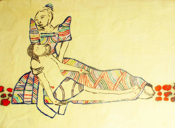 Lamb Of God Wall Art - Painting - Pieta by Gloria Ssali