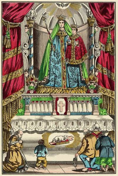 Notre Dame Drawing - Pilgrims At The Shrine Of  Notre-dame by Mary Evans Picture Library