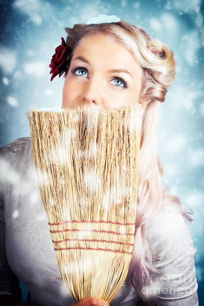 Sweeping Photograph - Pin-up Woman Cleaning Up In Cold Blue Winter Snow by Jorgo Photography - Wall Art Gallery