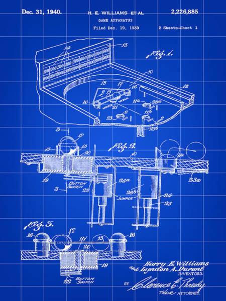 Pinball Digital Art - Pinball Machine Patent 1939 - Blue by Stephen Younts