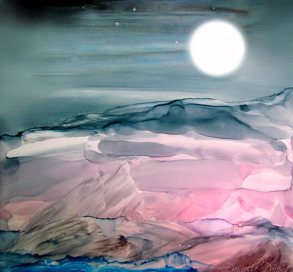 Painting - Pink Quartz Island Under The Moon Alcohol Inks by Danielle  Parent