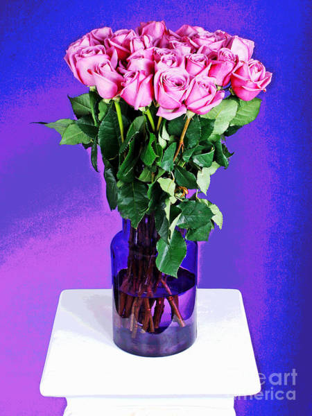 Photograph - Pink Rose Bouquet In Purple Vase by Larry Oskin
