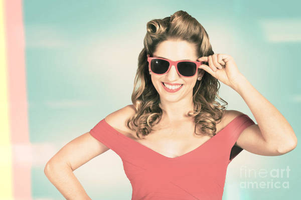 Photograph - Pinup Girl Fashion Model Wearing Summer Sunglasses by Jorgo Photography - Wall Art Gallery
