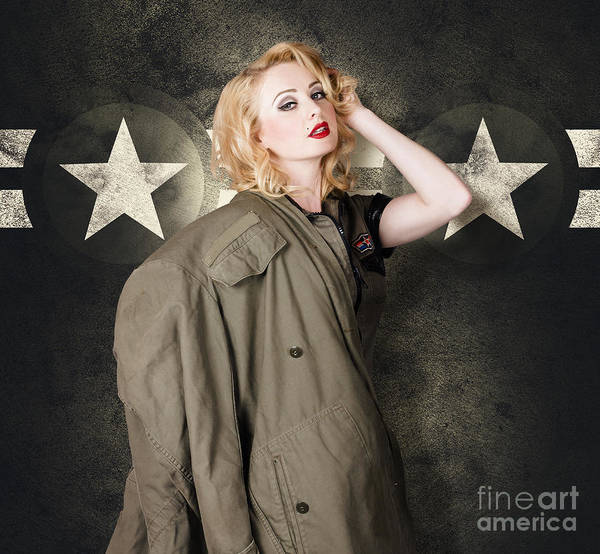 Cadets Wall Art - Photograph - Pinup Girl In Retro Model Makeup And 60s Hairstyle by Jorgo Photography - Wall Art Gallery