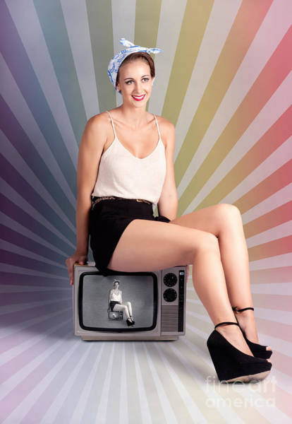 Television Program Wall Art - Photograph - Pinup Housewife Sitting On Vintage Television Set by Jorgo Photography - Wall Art Gallery