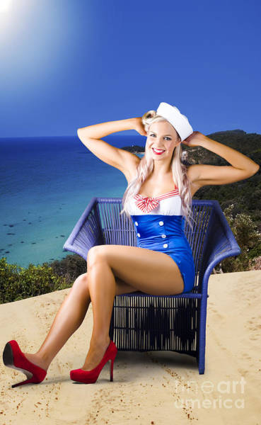 Wall Art - Photograph - Pinup Woman On A Tropical Beach Travel Tour by Jorgo Photography - Wall Art Gallery