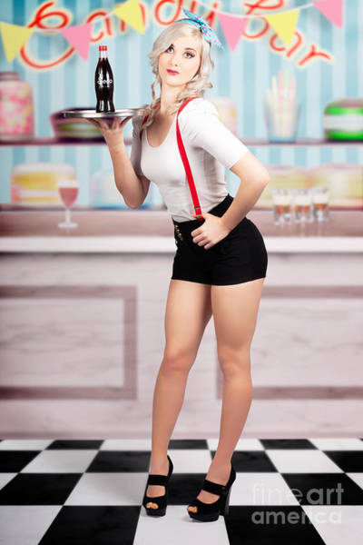 Wall Art - Photograph - Pinup Woman Serving Drinks At Vintage Candy Bar by Jorgo Photography - Wall Art Gallery