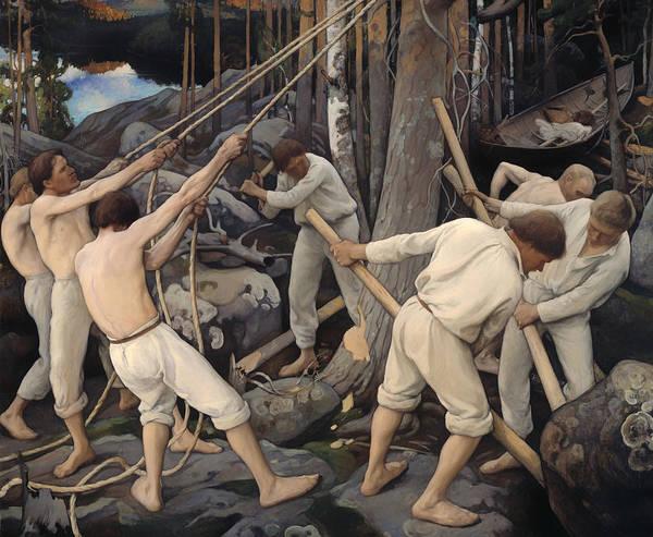 Pulling Painting - Pioneers In Karelia by Mountain Dreams