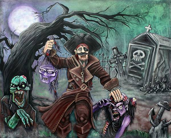 Wall Art - Painting - Pirate's Graveyard by Laura Barbosa