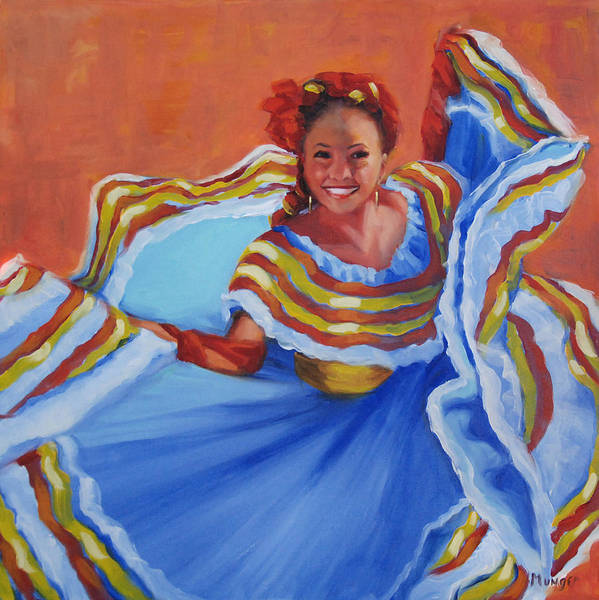 Twirl Painting - Pirueta Azul  by Roseann Munger