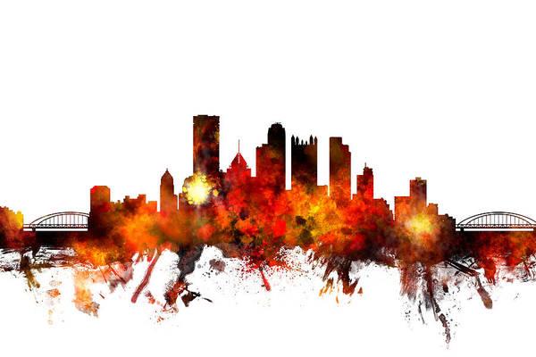 Usa Digital Art - Pittsburgh Pennsylvania Skyline by Michael Tompsett