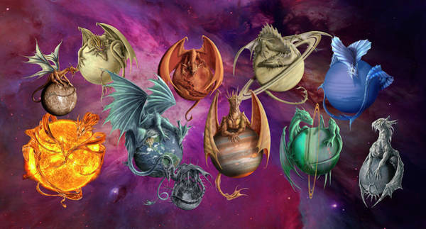 Wall Art - Painting - Planet Dragons by MGL Meiklejohn Graphics Licensing