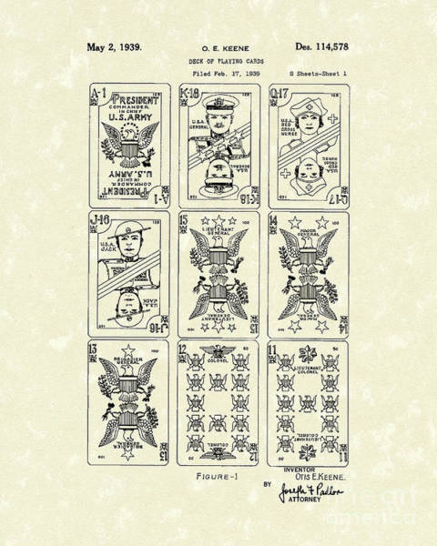 Drawing - Playing Cards 1939 Patent Art by Prior Art Design