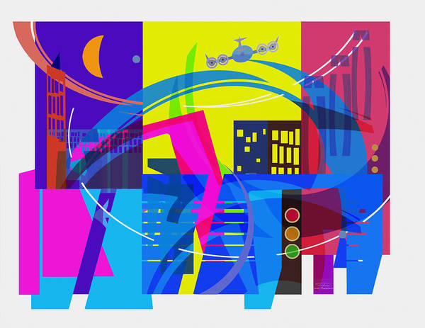 Plane Drawing - Playing Shapes City 01 by MGL Meiklejohn Graphics Licensing