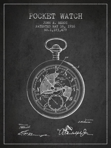 Pocket Wall Art - Digital Art - Pocket Watch Patent From 1916 by Aged Pixel