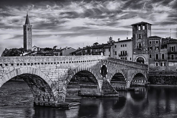 Italia Photograph - Ponte Pietra Verona In Black And White  by Carol Japp