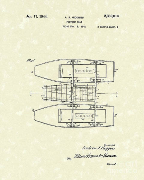 Drawing - Pontoon Boat 1944 Patent Art by Prior Art Design