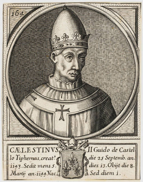 Wall Art - Drawing - Pope Caelestinus II(guido Di Castello) by Mary Evans Picture Library