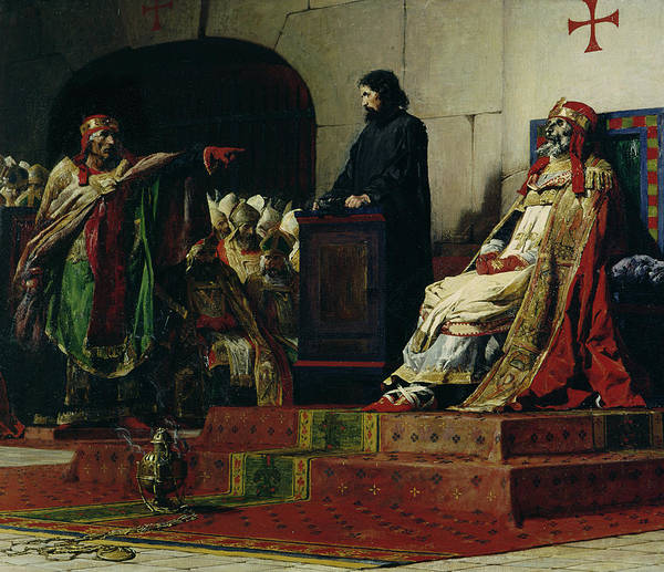 Past Painting - Pope Formosus And Pope Stephen Vi by Jean Paul Laurens