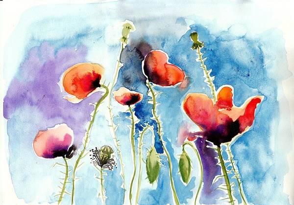 Poppies Field Poppy Watercolor Art Print