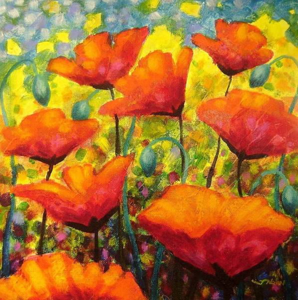 Wall Art - Painting - Poppy Corner by John  Nolan