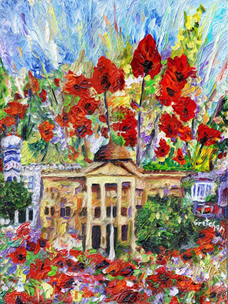 Courthouse Painting - Poppy Days Are Here Again by GretchenArt FineArt