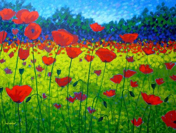 Christmas Flowers Painting - Poppy Field by John  Nolan