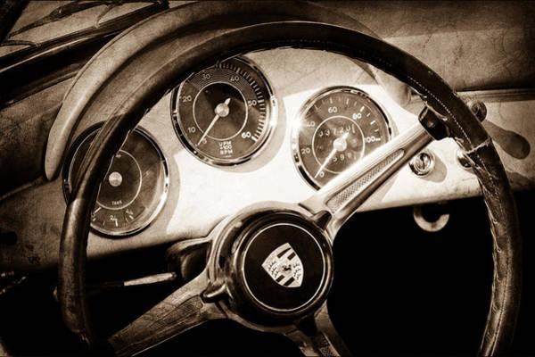 Convertible Photograph - Porsche 1600 Super Convertible Steering Wheel Emblem by Jill Reger