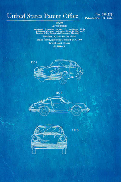 Fitter Photograph - Porsche 911 Car Patent Art 1964 Blueprint by Ian Monk