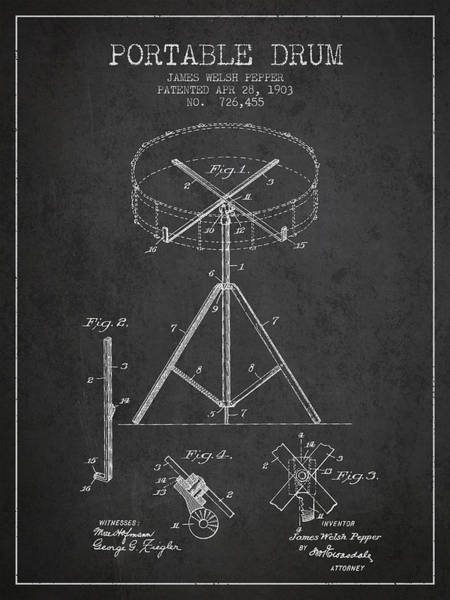 Country Living Digital Art - Portable Drum Patent Drawing From 1903 - Dark by Aged Pixel