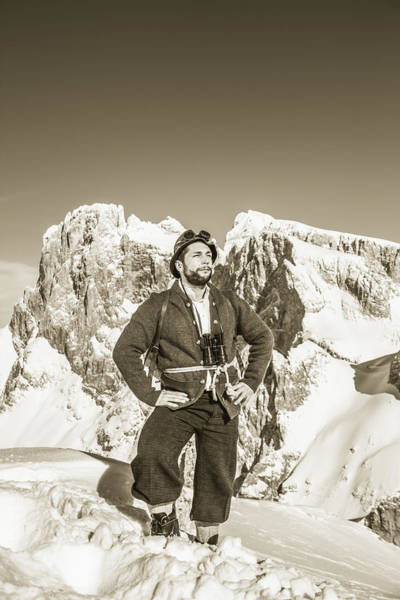 Portrait Of A Bearded Man In Old Nostalgic Skiing Outfit Art Print by Leander Nardin