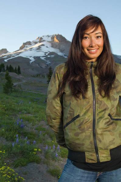 Timberline Photograph - Portrait Of Asian-canadian Snowboarder by Heath Korvola