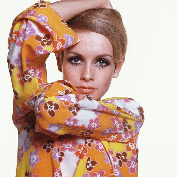 Floral Photograph - Portrait Of Twiggy by Bert Stern