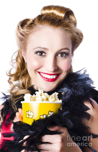Feathery Photograph - Portrait Of Woman With Popcorn by Jorgo Photography - Wall Art Gallery