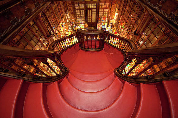 Banister Wall Art - Photograph - Portugal, Porto Stairway In Lello Book by Jaynes Gallery