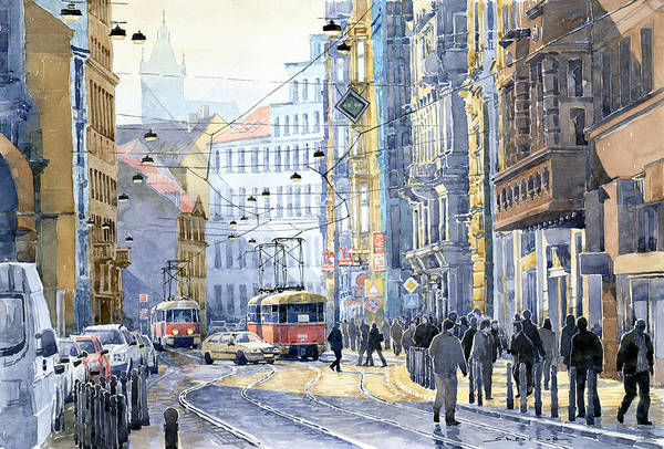 Tram Wall Art - Photograph - Prague Vodickova Str  by Yuriy Shevchuk