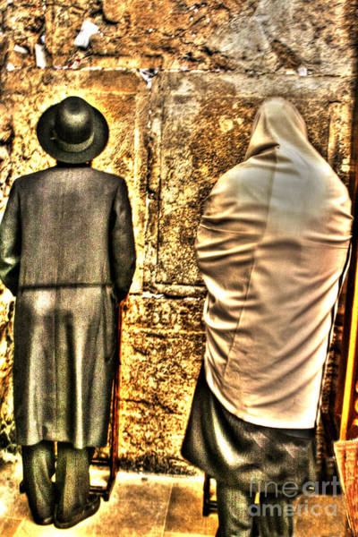 Photograph - The Wall, 2 Men, A Tallis And A Walking Stick by Doc Braham