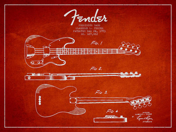 Wall Art - Drawing - Precision Bass Patent Drawing From 1953 by Aged Pixel