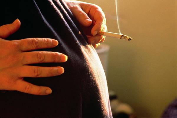 Pregnant Photograph - Pregnant Woman Smoking A Cigarette. by Adam Hart-davis/science Photo Library